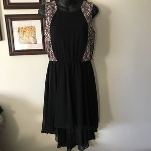 NWT High Low Dress Black with Blush Lace #WD-30